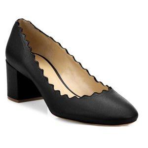 Chloe Lauren Pump Heel Black Scallop Leather